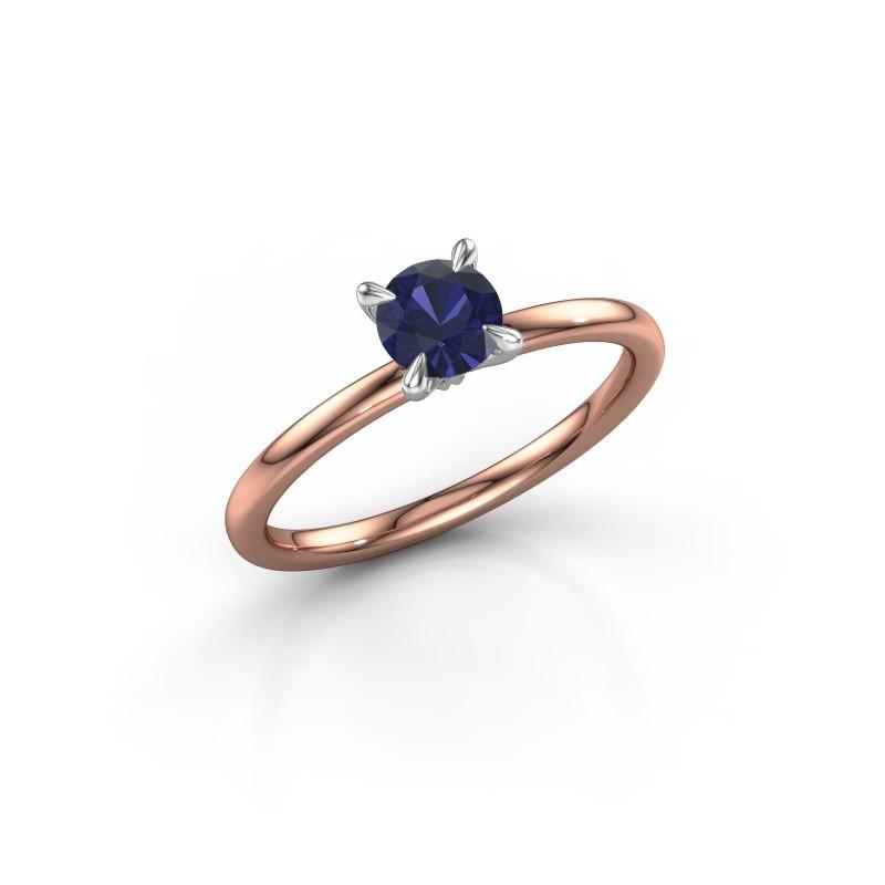 Verlobungsring Crystal RND 1 585 Roségold Saphir 5 mm