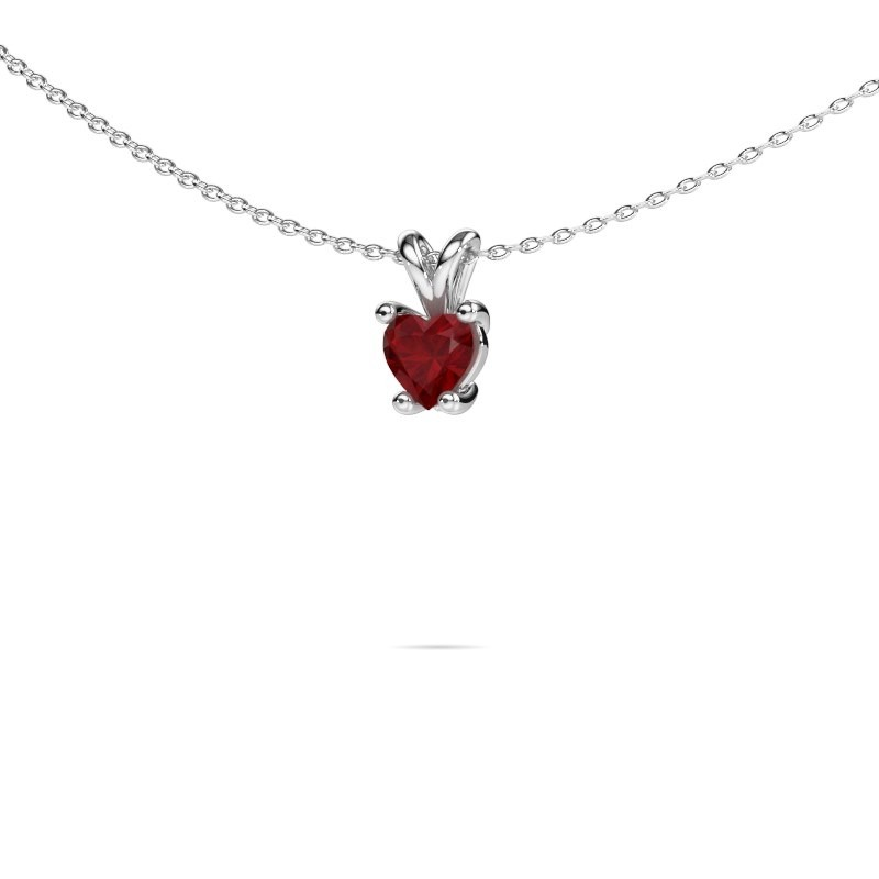 Necklace Sam Heart 585 white gold ruby 5 mm