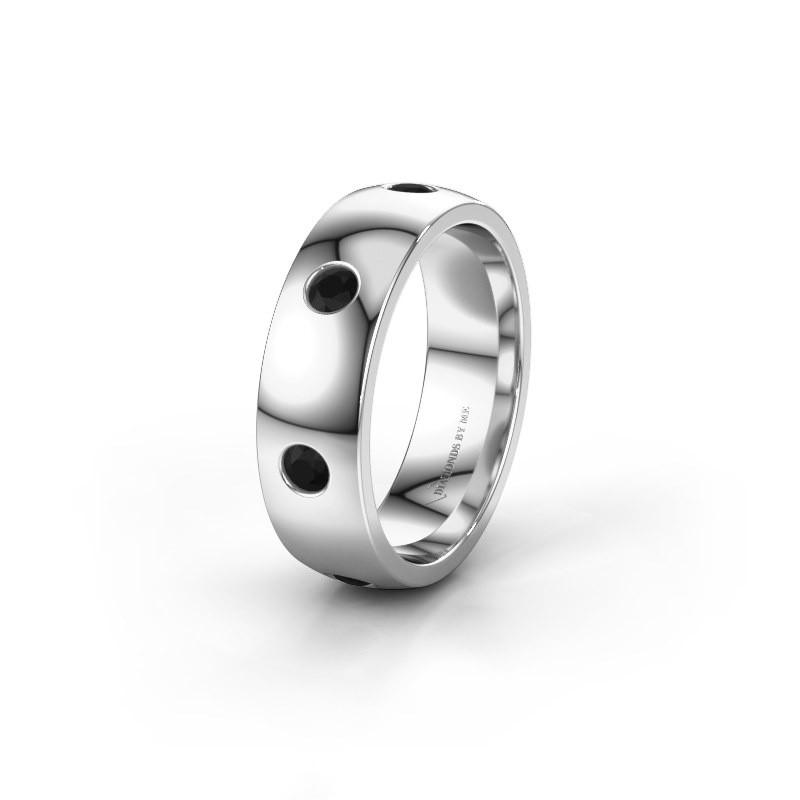 Wedding ring WH0105L26BP 925 silver black diamond ±6x2 mm