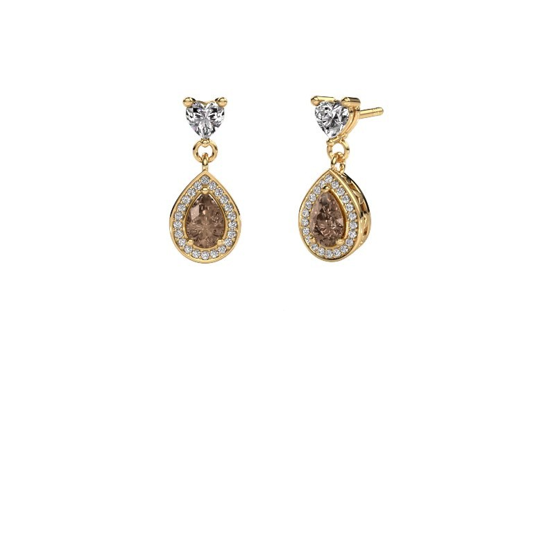 Drop earrings Susannah 375 gold brown diamond 1.51 crt