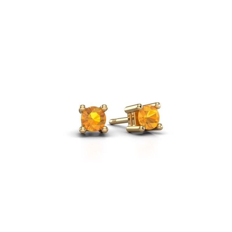 Stud earrings Eline 375 gold citrin 4 mm
