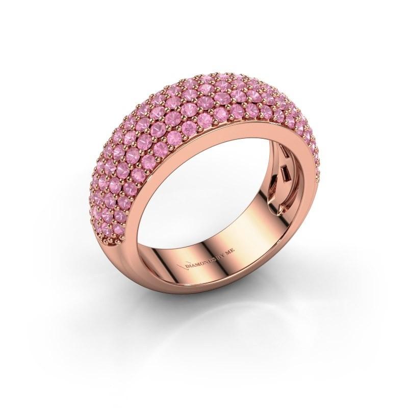 Ring Cristy 375 rosé goud roze saffier 1.2 mm