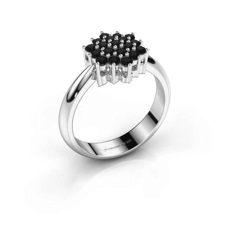 Ring Bente 925 zilver zwarte diamant 0.638 crt