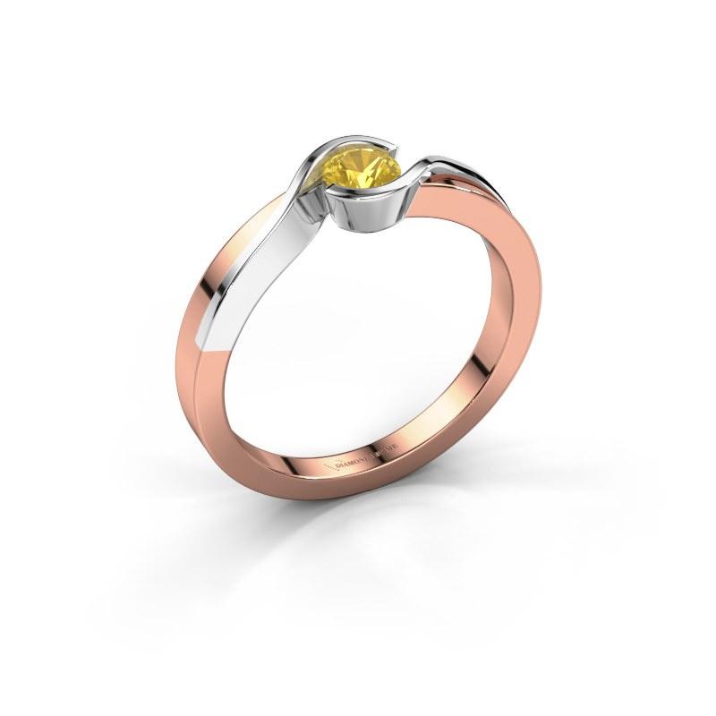 Ring Lola 585 rose gold yellow sapphire 4 mm