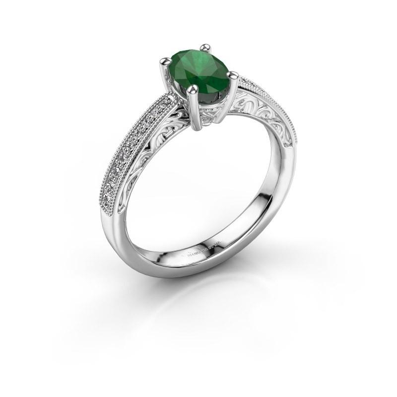 Verlovingsring Shonta OVL 925 zilver smaragd 7x5 mm