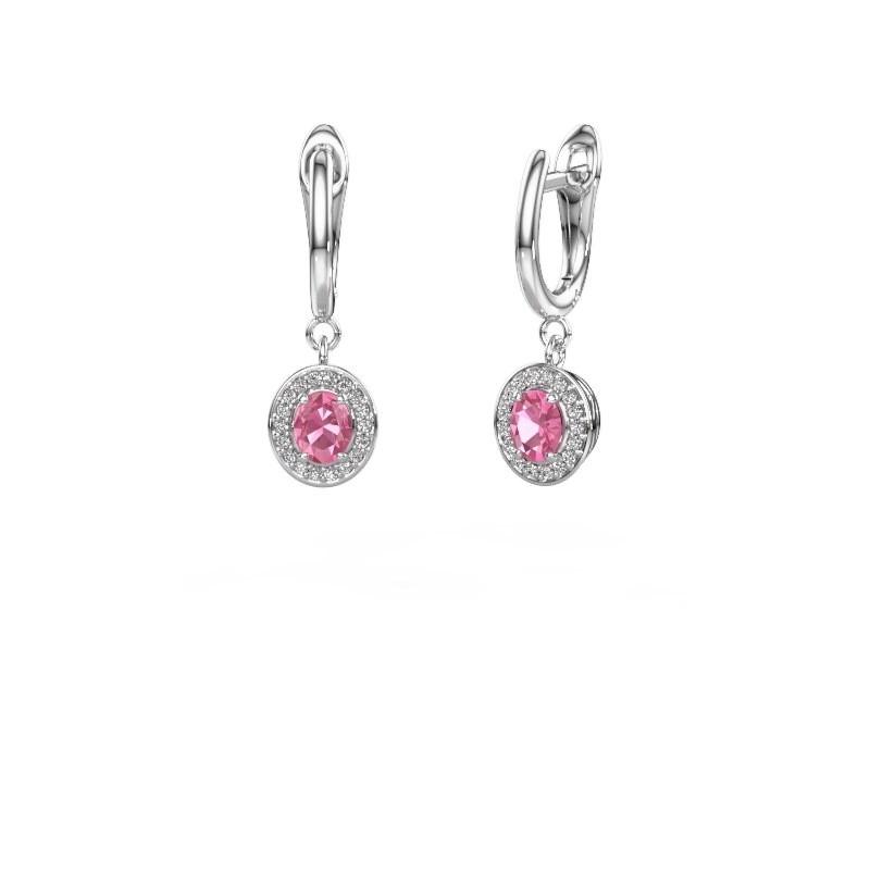 Ohrhänger Nakita 950 Platin Pink Saphir 5x4 mm