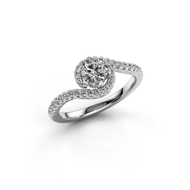 Bague de fiançailles Elli 585 or blanc diamant synthétique 0.752 crt