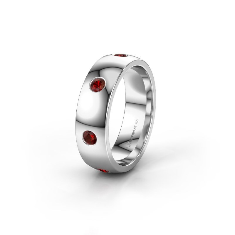 Wedding ring WH0105L26BP 925 silver garnet ±6x2 mm