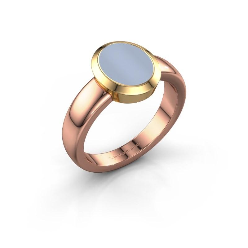 Signet ring Freeda 1 585 rose gold light blue sardonyx 10x8 mm