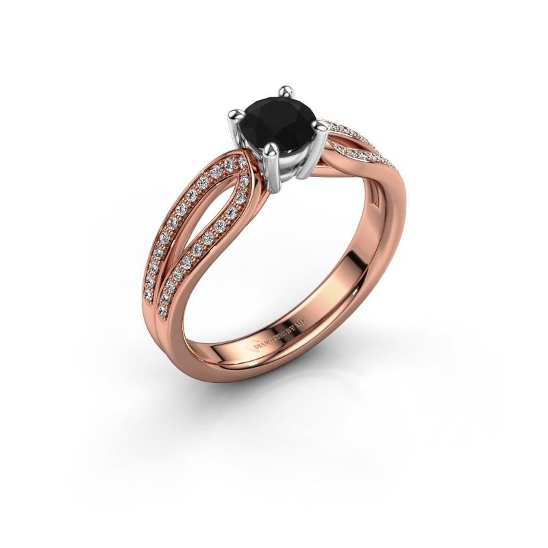 Verlovingsring Antonia 2 585 rosé goud zwarte diamant 0.83 crt