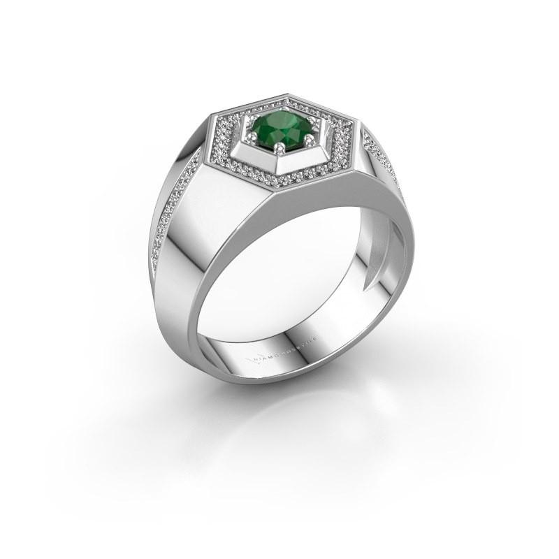 Men's ring Sjoerd 925 silver emerald 4.7 mm