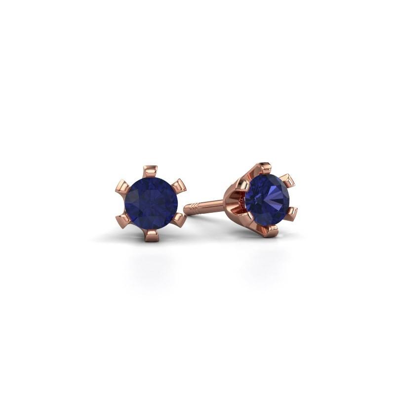 Stud earrings Shana 375 rose gold sapphire 4 mm