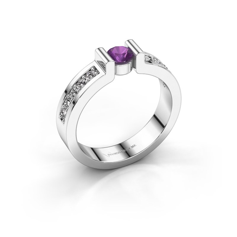 Engagement ring Isabel 2 925 silver amethyst 4 mm