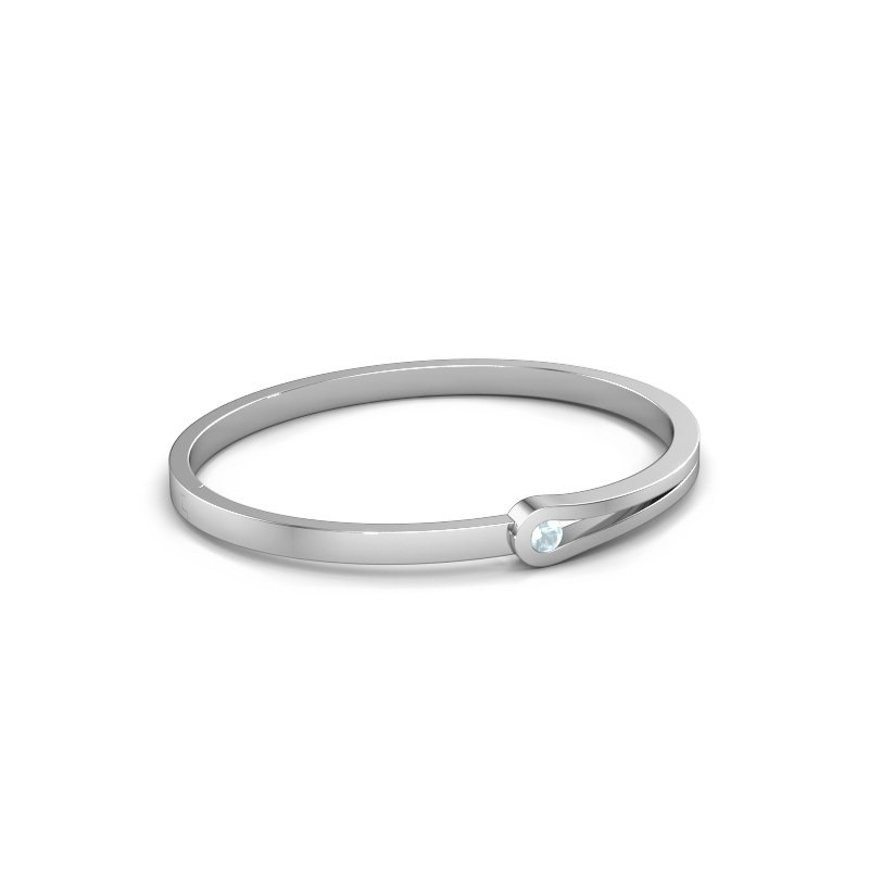 Bangle Kiki 950 platinum aquamarine 4 mm