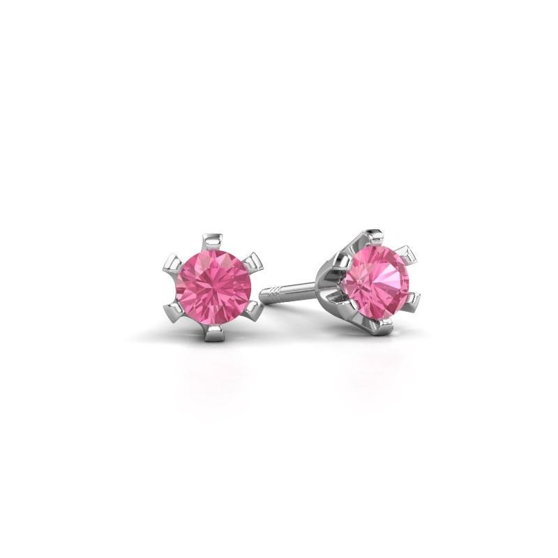 Oorstekers Shana 585 witgoud roze saffier 4 mm