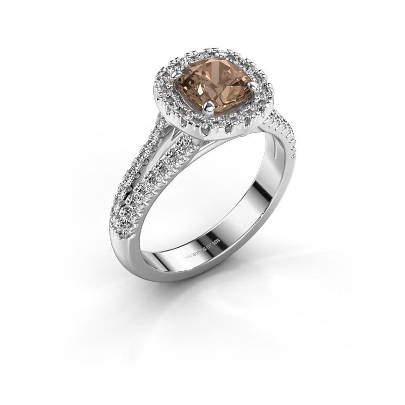 Verlovingsring Francesca 950 platina bruine diamant 1.64 crt
