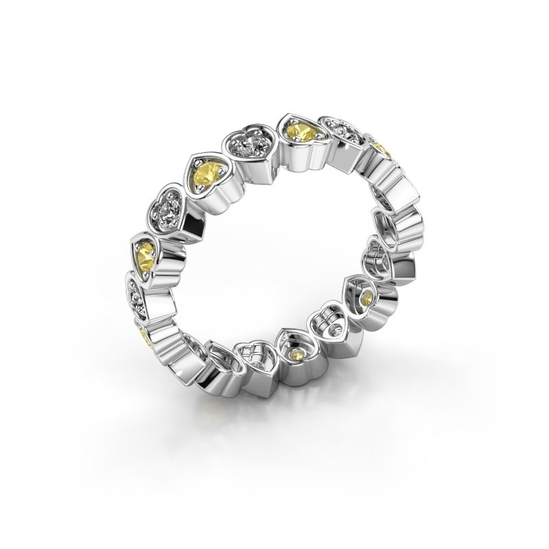 Stackable ring Pleun 375 white gold yellow sapphire 2 mm