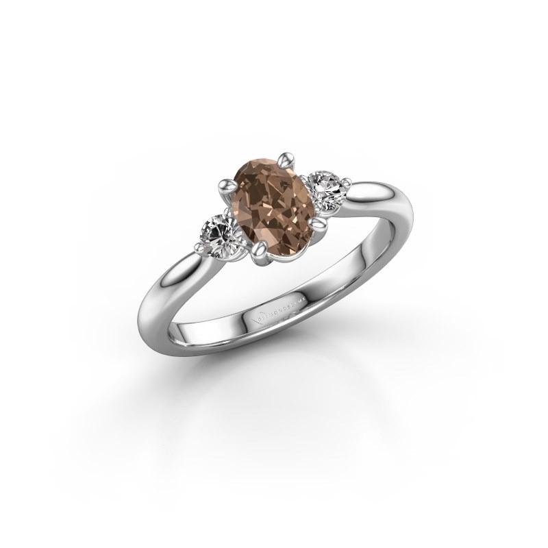 Verlovingsring Lieselot OVL 950 platina bruine diamant 0.76 crt