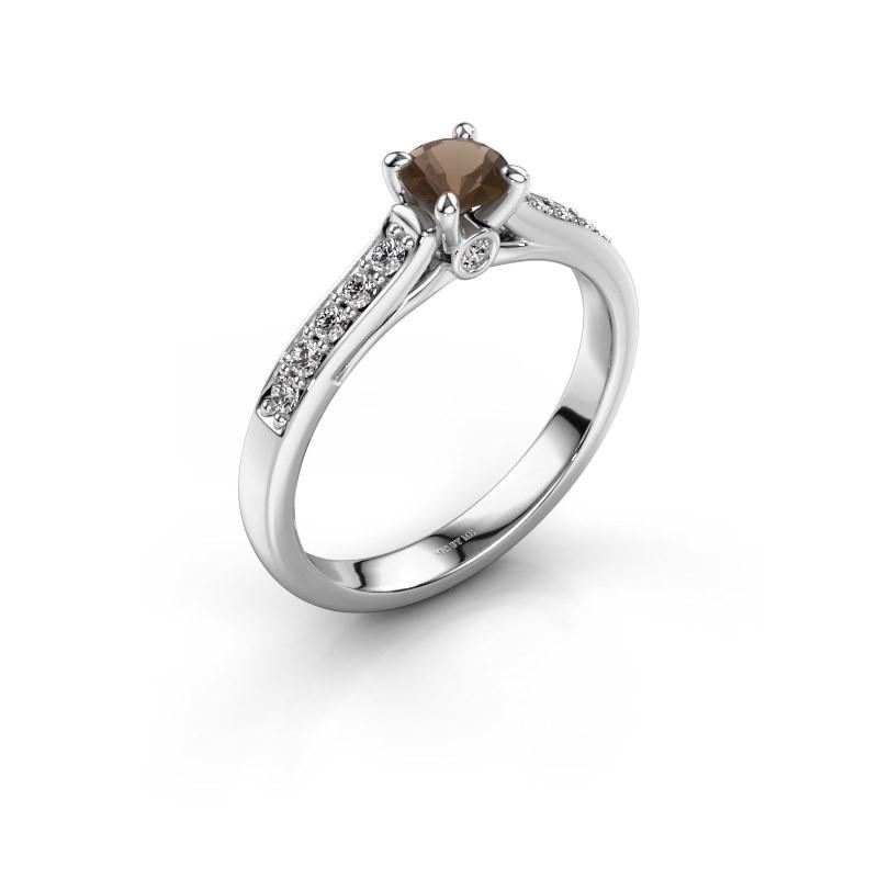 Verlovingsring Valorie 2 925 zilver rookkwarts 4.7 mm